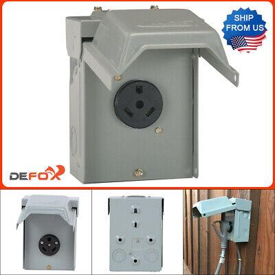 30 Amp Rv Power Outlet Box Receptacle W Padlock Rainproof Lockable Full Set Kit