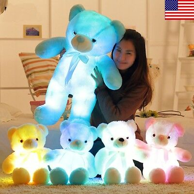 New LED Teddy Bear Stuffed Animals Plush Soft Hug Toy Baby K