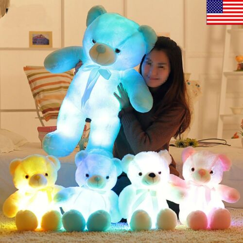 LED Shiny Teddy  Stuffed Animals Plush Soft Hug Toy Baby Kid