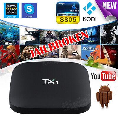 4K KODI Quad Core S805 Smart TV BOX TX1 Android Fully Loaded Free Sports XXX UK