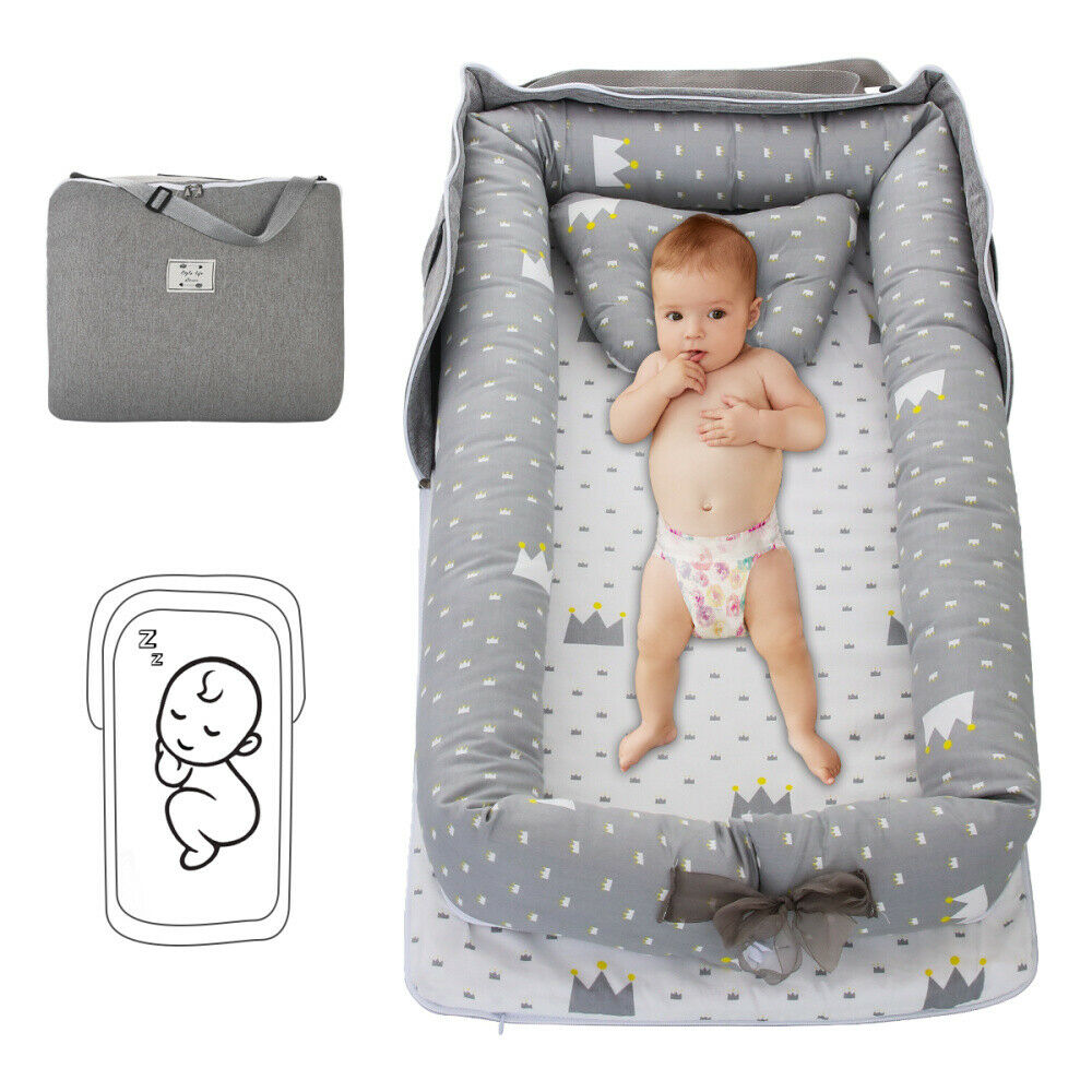 Roche.Z Portable Toddler Bumper Bed Crib Lightweight Newborn Baby Comfortable Mattress Sleeping Baby Cotton Bed for Bedroom Travel