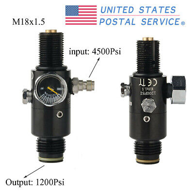 Paintball PCP 4500psi Compressed Air Tank Regulator Output 1200psi Black USPS Compressed Air Paintball Tank