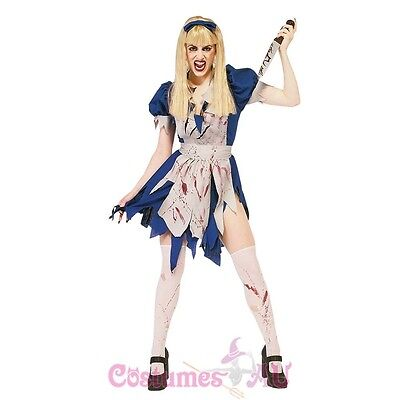 Ladies Halloween Zombie Malice in Horror Land Walking Dead Fancy Dress Costume - Zombieland Costumes Halloween