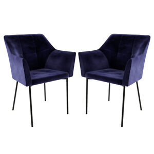 Airi Velvet Fabric Indoor Dining Chair - Deep Navy (2pc)