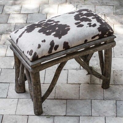 Teak Driftwood Bench Cow Hide Print Cushion Seat Rustic 22""