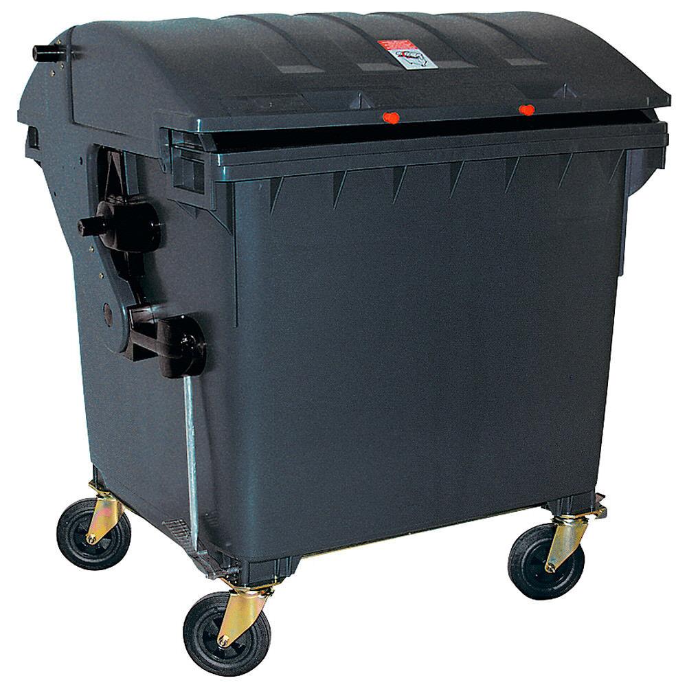 Müllcontainer nach EN 840, 1100 Liter, Runddeckel, mit Aufnahme-Kammleisten,grau