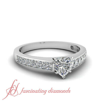 3/4 Carat Heart Shaped Diamond Pave Set Delicate Engagement Ring In White Gold