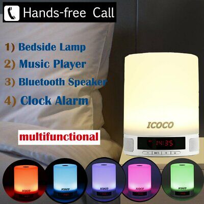 Bedside Table Lamp Night LED Light Speaker Music Player Clock Alarm RGB Touch MA