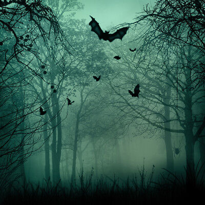 10X10FT Halloween Foggy Forest Bat Photography Backdrop Photo Background Props (Halloween Photo Background)