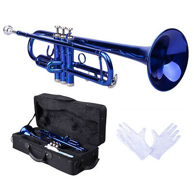 New Blue Bb Beginner School Band Trumpet with Mouthpiece Case