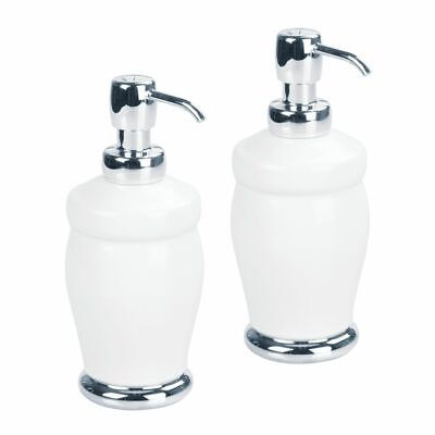 mDesign Ceramic Refillable Liquid Soap Dispenser Pump, 2 Pack - White/Chrome Ceramic Liquid Soap Dispenser