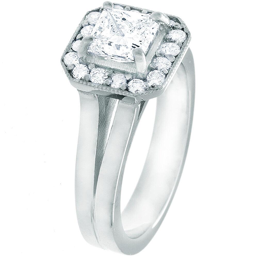 GIA Certified Diamond Engagement Ring 1.24 Carat Princess Cut 14k White Gold  4