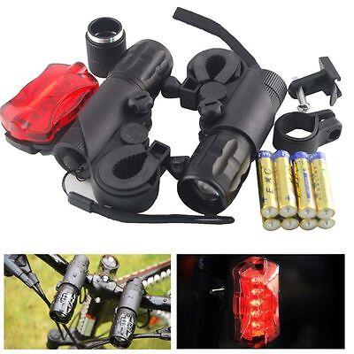 2X CREE Q5 LED Cycling Bike Torches Front Headlight Flashlight+Batteries US Ship