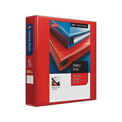 Staples Heavy Duty 1 12 3-ring View Binder Red 24681 82682