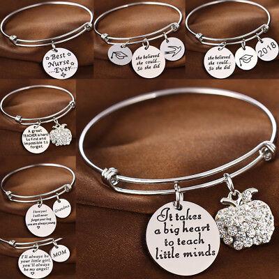2018 Apple Charm Rhinestone Gifts For Mom Grandma Nurse Teachers Bangle Bracelet - Bracelets For Teachers