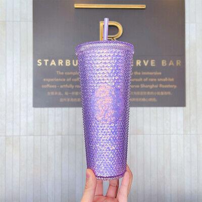 2021 New Arrival Starbucks China Purple Glitter Studded 24oz Straw Cup Tumbler