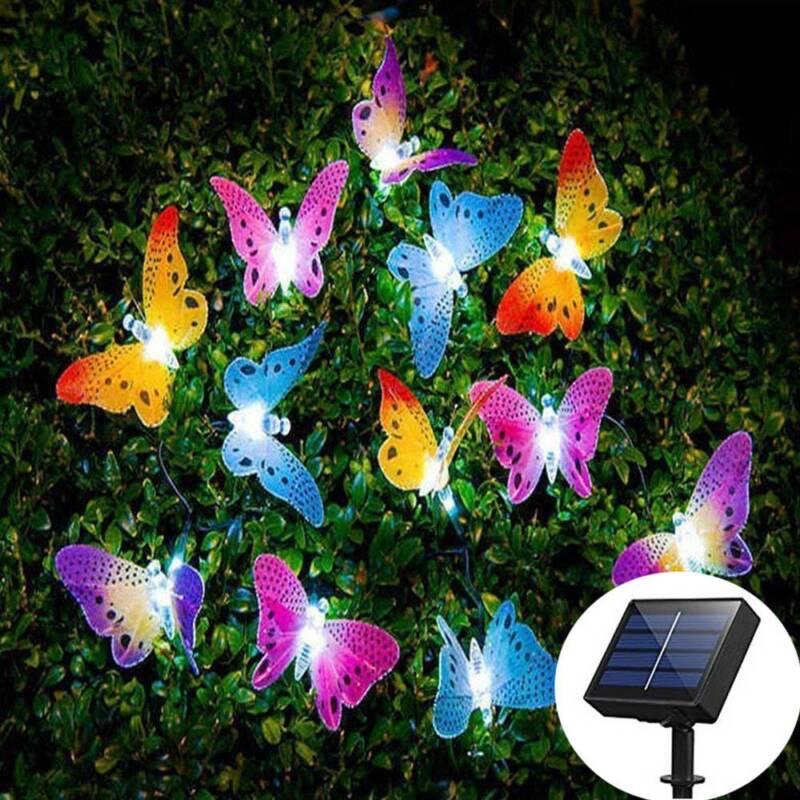 Solar Powered 12LED Butterfly Fairy String Light Lamp Outdoo