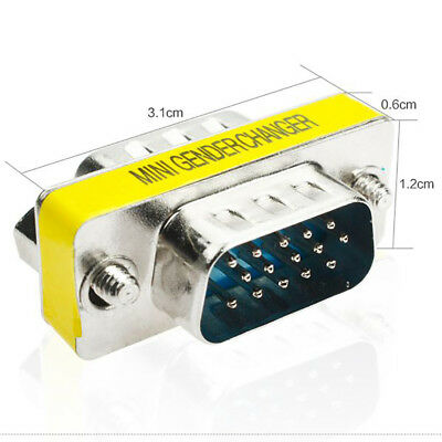 15Pin VGA SVGA HD15 Gender Changer Koppler Adapter Konverter Stecker auf Stecker ()