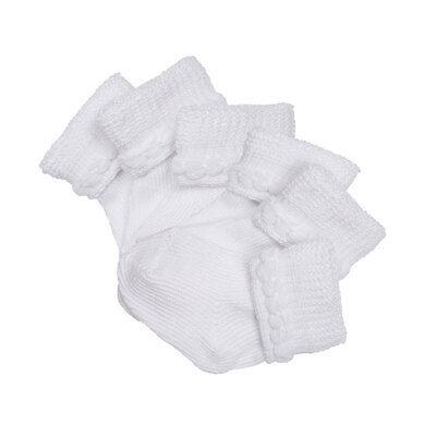 Infant Newborn Baby Boys Girls 0-6 Mo White Solid Turn Cuff Socks 12 PAIR 800011