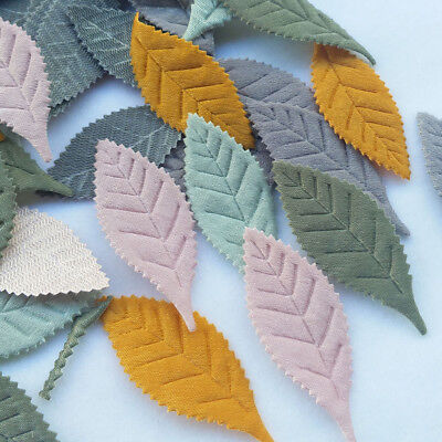 Felt Leaves (50pcs Leaf Padded Felt Appliques Craft Gift Doll Decor 5 Colors)
