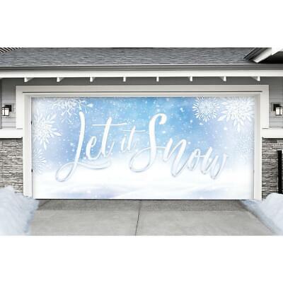 Let It Snow Christmas Double Car Garage Door Decor Mural Banner 7 Ft X 16 Ft - $317.99