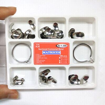 Tor Vm 100pcs Dental Matrix Bands Sectional Contoured Matrices Wedges No1.398