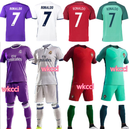 2016-2017 Soccer Football Short Sleeve RONALDO Jersey Kids 3-14Y Kit & socks