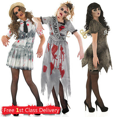 Ladies Zombie School Girl Halloween Deadly Doll Prom Queen Fancy Dress UK 8-22
