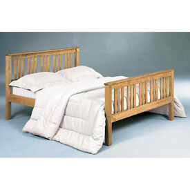 Solid, Brazilian, Pine, wooden, double bed, with medium to soft, mattress. kingsize