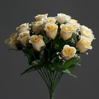 Rosenstrauß Paris 36cm hellgelb DP Kunstblumen künstlicher Strauße Rosen