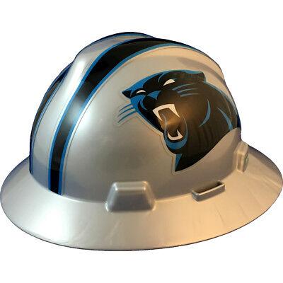 "MSA V-Gard FULL BRIM CAROLINA ""PANTHERS"" NFL Hard Hat Type 3 RATCHET Suspension"