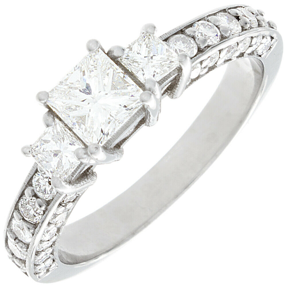 GIA Certified Diamond Engagement Ring 1.81 Ct Princess Cut 18k White Gold