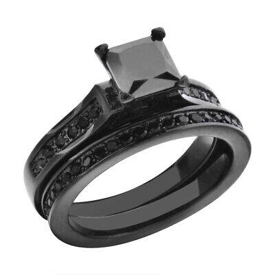 Black Stainless Steel Princess CZ Women's Eternity Wedding E