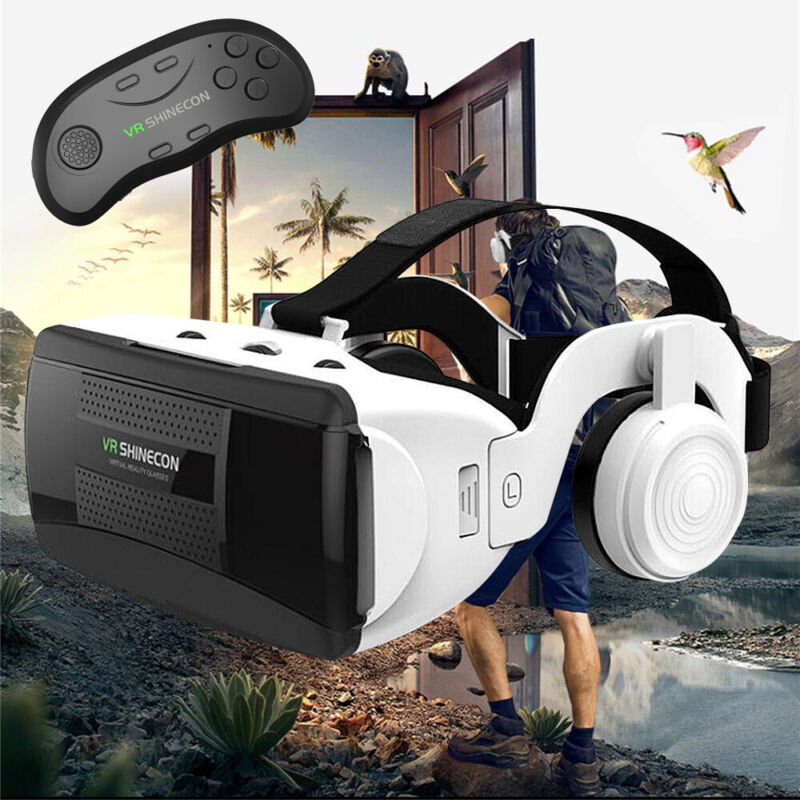 360° 3D Virtual Reality VR Headset Box With Remote Controller For iPhone Samsung