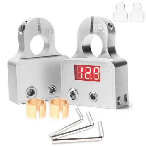 2X Digital Car Battery Terminal Connectors LED Voltmeter 0/4/8 Gauge Power Post