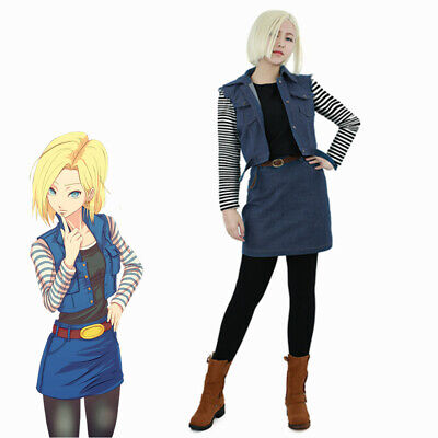 Dragon Ball Android 18 Cosplay Costume Outfit Fancy Dress - Dbz Fancy Dress