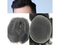 Off Black Color Fine Swiss Lace Toupee Human Hair Systems