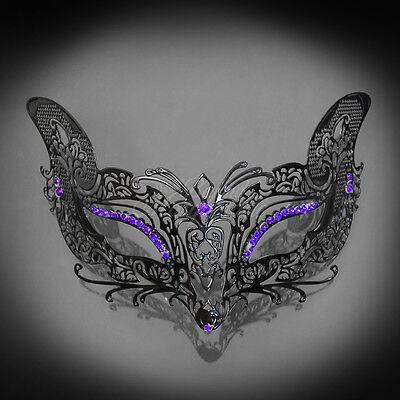 Fox Foxy Cat Venetian Halloween Costume Masquerade Mask Black Purple M7108  - Fox Mask Halloween Costume