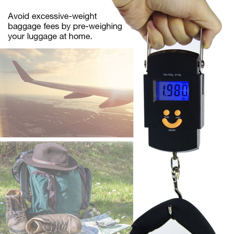50kg 110lbs Portable Digital Hanging Luggage Weight Electronic Fish Hook Scale