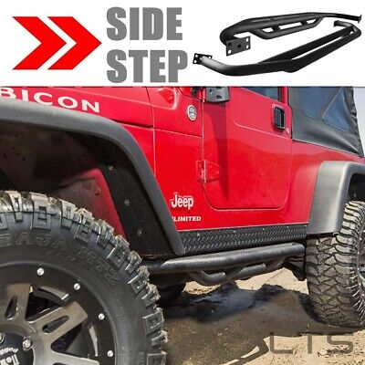 Black Side Body Armor Rocker Knockers Sliders For 87-06 Jeep Wrangler YJ / TJ 2D