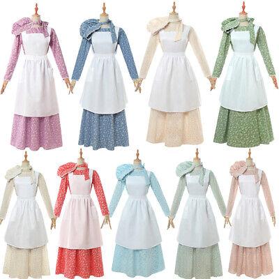 Girls Women's Pioneer Trek Pilgrims Frontier Prairie Colonial Maid Dress Costume](Girls Pioneer Dress)