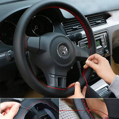 Black Genuine Leather DIY Car Steering Wheel Cover With Needles Red Thread Novel