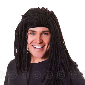 MENS LONG RASTA REGGAE WIG FANCY DRESS BLACK RUDD DREADLOCK GULLIT BOB MARLEY