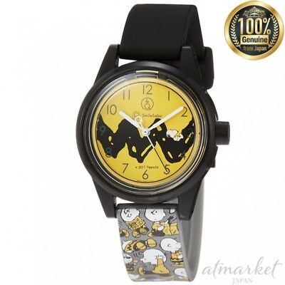 Q&q Smilesolar Rp01-805 Armbanduhr Snoopy Charlie Brown 10atm Schwarz aus Japan ()