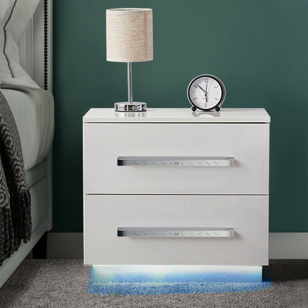 LED !! High Gloss Table // Nightstand Push to Open Bedside Cabinet