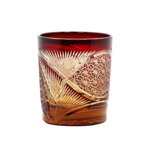J30 Japanese Hand Cut Edo Kiriko Overlay Glass 8 Ounces Amber Red Whiskey Cup