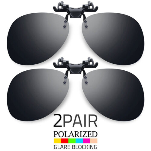 2PCS LOT POLARIZED LENS ANTI GLARE CLIP ON FLIP UP SUNGLASSES GLASSES DRIVING US Clothing, Shoes & Accessories
