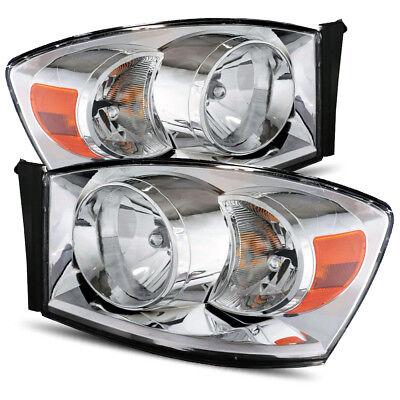 Fits 06-08 Dodge Ram 1500/06-09 Ram 2500/3500 Stock Style Chrome Headlights Set, used for sale  Baldwin Park