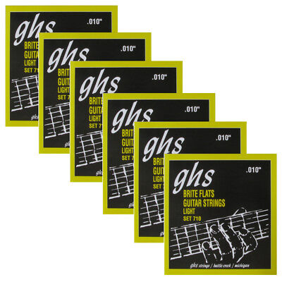 6 Sets of GHS 710 Brite Flats Light Electric Guitar Strings (10-46)