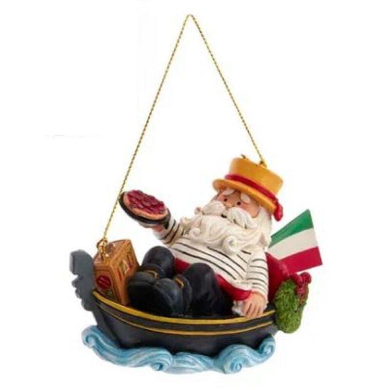 Italian Santa in Gondola with Italian Flag and Pizza Christmas Ornament